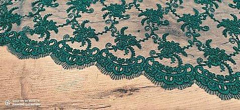 Textil - Luxusná krajková látka - Emerald - cena za 10 cm - 13594824_