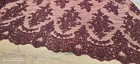 Textil - Luxusná krajková látka - Bordová- cena za 10 cm - 13594830_