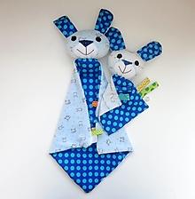 Hračky - Mojkáčik zajko - Zajačik z Modrého Bodkova s väčšou dečkou na želanie - 13595380_