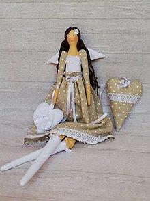 Dekorácie - Anjelik béžový bodkovaný + srdiečka gratis - 13596033_