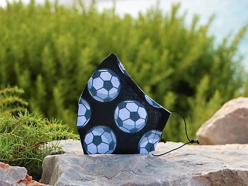 Dizajnové rúško futb. lopty čierne tvarované dvojvrstvové