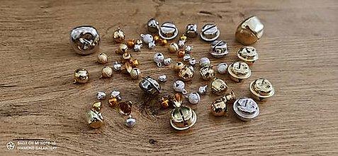 Komponenty - Rolničky zlatostrieborný mix 50 kusov - 6-40 mm - 13596779_