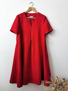 Šaty - Svieže ľanové šatičky - červené - 13598094_