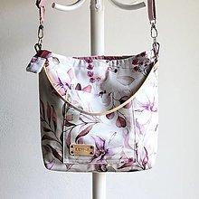 Veľké tašky - Veľká ľanová taška *Purple Flowers* - 13597860_
