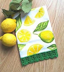 Úžitkový textil - Utierka s háčkovanou krajkou a citrónmi - 13597223_