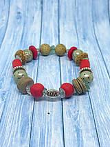 Náramky - BOHO náramok - Vo farbe koralové a béžovej - 13601203_
