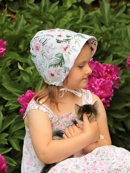 Letný detský ľanový čepiec rose