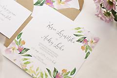"""Papiernictvo - Svadobné oznámenie """"Maľované pastelové kvety"""" - 13601227_"""