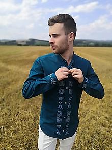 Oblečenie - Pánska košeľa Petrol - 13599140_