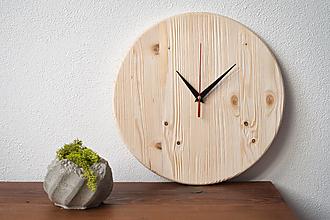 Hodiny - Drevenné nástenné smrekové hodiny - 13599984_