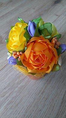 Dekorácie - Ružičky v kvetináči - 13600792_