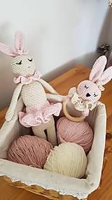 Hračky - Hačkovaný zajko Princeznička a hrkálka baby - 13601408_