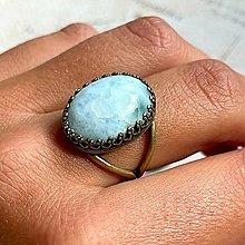 Prstene - Bronze Natural Larimar Ring / Vintage prsteň s pravým larimarom v bronzovom prevedení - 13602323_