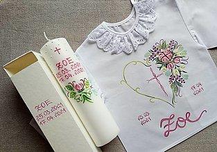 Detské oblečenie - Pivóniový set do krstu - 13604110_