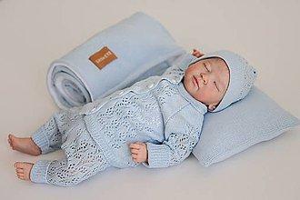 Detské oblečenie - Súpravička pre bábätko Miss, bledomodrá - 13601553_