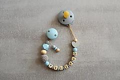 Detské doplnky - Retiazka na cumlík s menom, modro-natural - 13602929_
