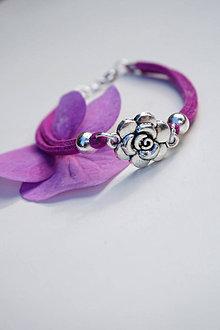 Náramky - Náramok s ružou cyklámenový - 13603840_