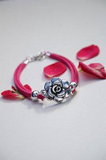 Náramky - Náramok s ružou fuchsiový - 13603871_