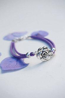 Náramky - Náramok s ružou fialový tmavý - 13603903_