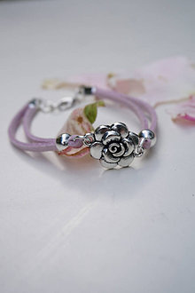 Náramky - Náramok s ružou fialový svetlý - 13603918_