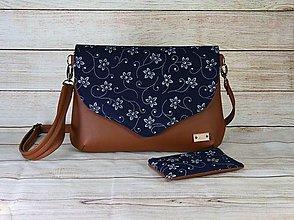 Kabelky - modrotlačová kabelka Petra hnedá s taštičkou - 13602923_