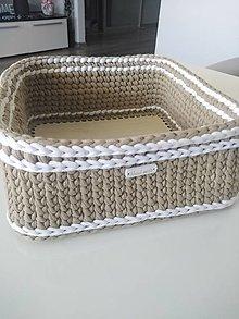 Košíky - Háčkovaný košík - 13603860_
