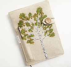 Papiernictvo - Zápisník A5 maľovaný režný - Breza - 13605218_
