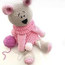 Hračky - Medvedica Macka - 3 v 1 veľký pyžamožrútik, mojkáčik a vankúšik - 13605265_