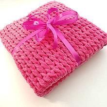 Textil - Detská háčkovaná deka MIMA - z priadze Alize Puffy Fine Ombré (ružová) - 13605727_