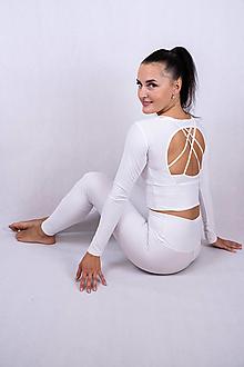 Topy - Funkčný crop top s dlhým rukávom special – basic – white - 13605736_