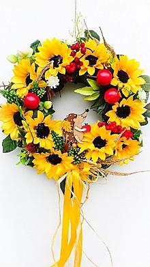 Dekorácie - Jesenný veniec- ježko - 13604355_