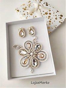 Sady šperkov - Viktória sada v darčekovom balení  (Biela-zlatá-strieborná) - 13606446_