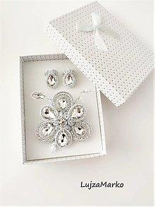 Sady šperkov - Viktória sada v darčekovom balení  (Strieborná-biela) - 13606455_