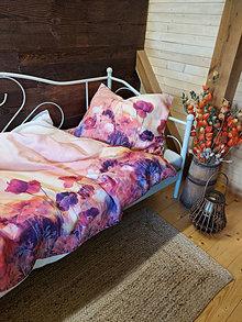 Úžitkový textil - Ľanové posteľné obliečky Poppies - 13604868_