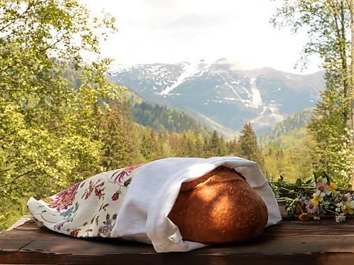 Ľanové vrecko na chlieb chryzantémy