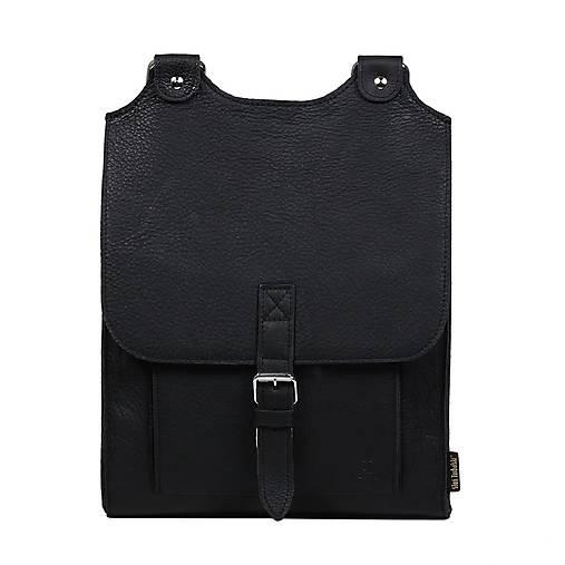 Batohy - Kožený batoh černý - 13609279_