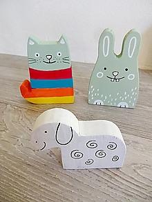 Hračky - Zvieratká - mačička, zajko a ovečka - 13608603_