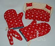Úžitkový textil - červená sada - 13607863_