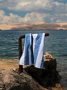 Úžitkový textil - Ľanová utierka pásik hrubší modrý - 13609955_