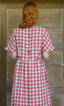 Šaty - Károvaná ľanové šaty - 13612039_