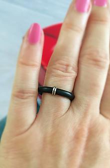 Prstene - čierny prsteň  (Prsteň s krúžkami Dvaja) - 13611175_