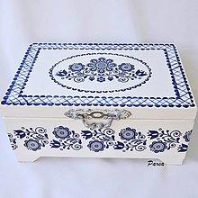Krabičky - Šperkovnica dvojúrovňová- folk modrý - 13614221_