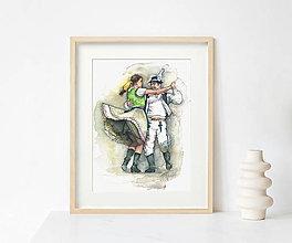 "Obrazy - Akvarelový obraz ""Tancovačka"" - 13614230_"