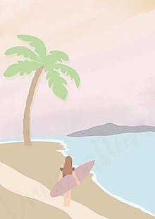 """Grafika - Ilustrácia """"Dievča so surfom"""" - 13613558_"""