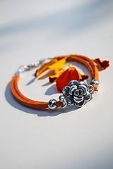 Náramky - Náramok s ružou oranžový - 13613896_
