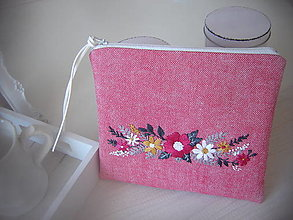 Taštičky - Kozmetická taštička růžová - 13612591_