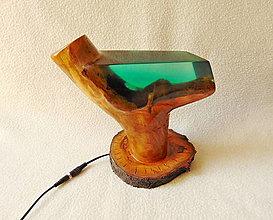 Svietidlá a sviečky - Lampa drevo a živica - 13616206_