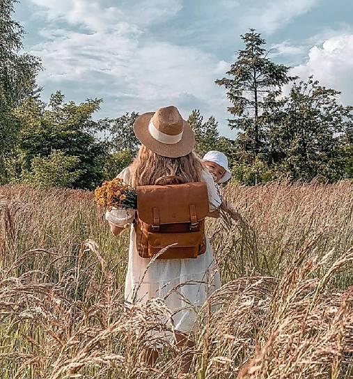 Batohy - Kožený batoh hnědý - 13616798_