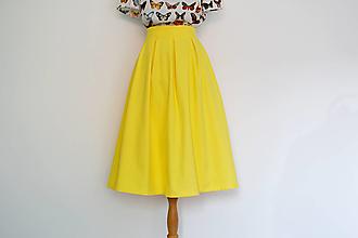 Sukne - Púpavovo žltá sukňa z piké bavlny - 13616292_