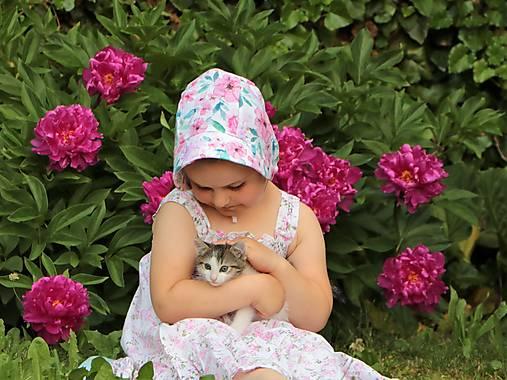 Letný detský ľanový čepiec Ruženka